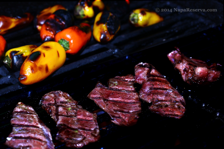 grilled beef hearts and roasted peppers